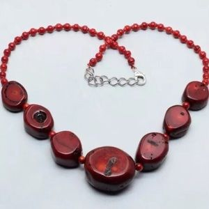 42 off seagemsinc jewelry rare necklace of red coral nuggets jewelry rare necklace of red coral nuggets hand knotted mozeypictures Images